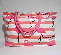 Пляжная сумка из ткани розовая полоска WMT-976328, фото 1