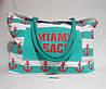 Пляжная сумка из ткани зеленая полоска WMT-942829