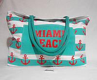 Пляжная сумка из ткани зеленая полоска WMT-942829, фото 1