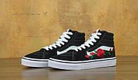 Женские кеды Vans SK-8 Roses Black (high), фото 1