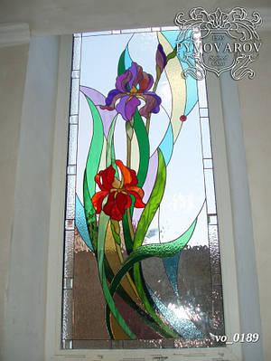 Витраж цветы ирисы Моне на окна