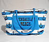 Пляжная сумка из ткани голубая полоска WMT-942842