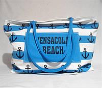 Пляжная сумка из ткани голубая полоска WMT-942842, фото 1