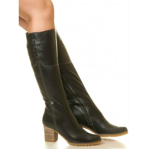 Сапоги высокие на высоком каблуке, из натуральной кожи, на молнии. Два цвета! Размеры 36-41 модель S611