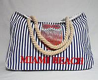 Пляжная сумка из синего цвета полоска WMT-943230, фото 1