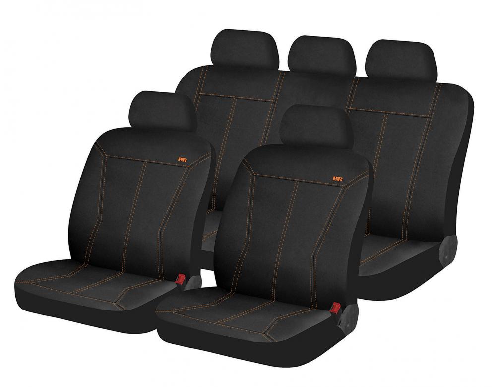 Авточехлы Hadar Rosen PHOSPHOR полный комплект на салон ✓ цвет:черный-оранжевая строчка