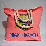 Прекрасная женская пляжная сумка из ткани розового цвета WMК-940018, фото 1
