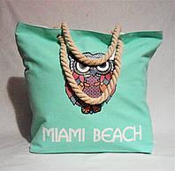 Прекрасная женская пляжная сумка из ткани салатового цвета WMК-940049, фото 1