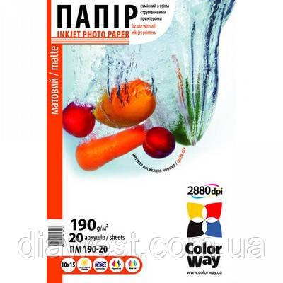 Бумага для принтера/копира ColorWay PM190-20 10x15 (PM1900204R)