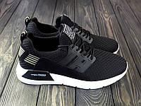 Стильные черные женские кроссовки сетка