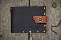 Кожаный черный кошелек из кожи на заклепках ручной работы