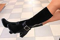 Зимние кожаные сапоги на удобном каблуке