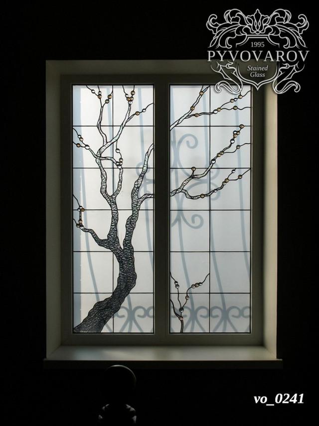 Витражи на окна с прозрачным деревом
