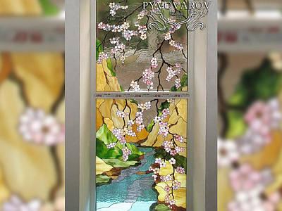 Витраж цветы сакура в металлопластиковые окна
