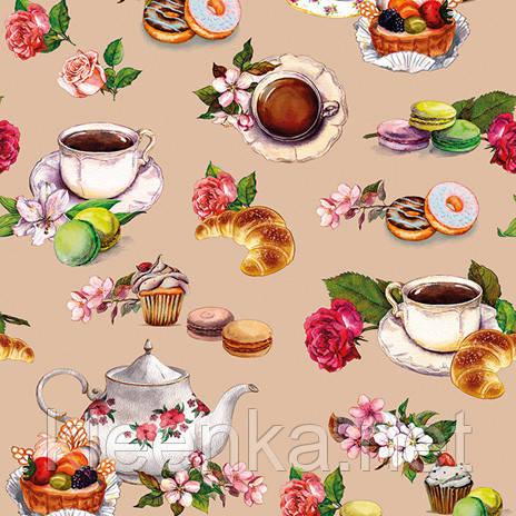 Оригинальная клеенка на кухонный стол с темой чаепития.