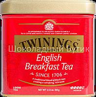 Чай TWININGS English Breakfast, черный чай, ж/б, 100г.