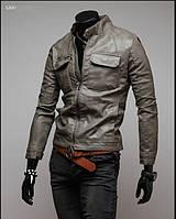 Серая куртка из эко-кожи, фото 1