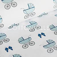 Хлопковая ткань Колясочки голубые, фото 1