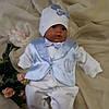 Человечек для новорожденных + шапочка — с голубой жилеточкой