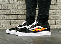 Мужские кеды Vans Old Skool Black/White Flame Fire, фото 1