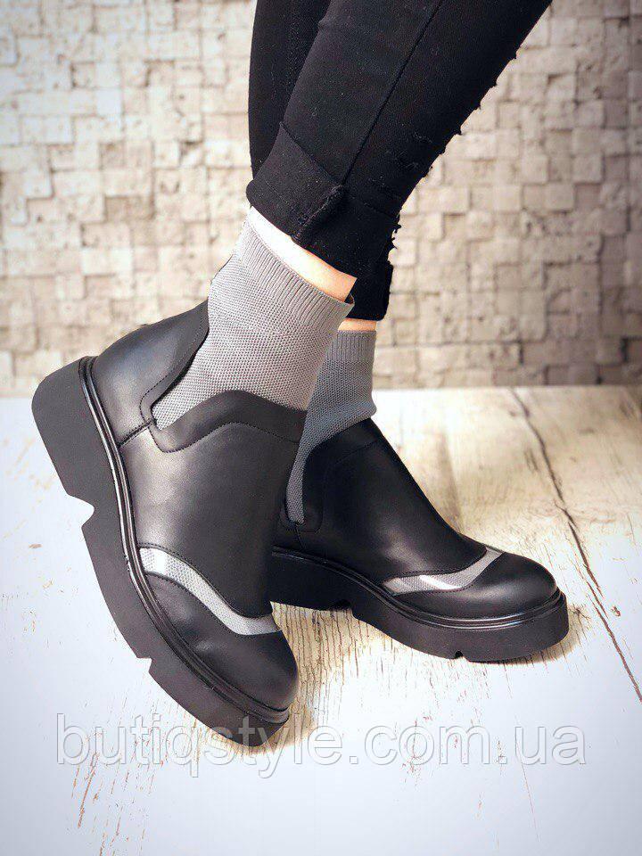 39 размер! Женские черные ботинки с серым кожа + эластичный довяз сверху D!sqwared