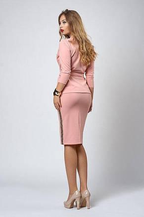 Красивый стильный костюм - юбка и жакет с брошью, фото 3