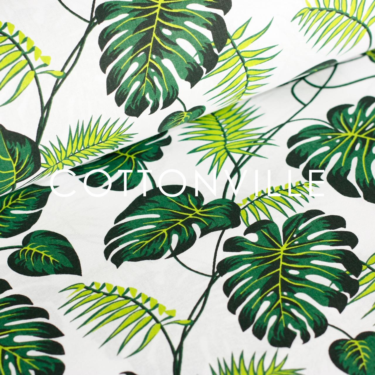✁ Отрезы бязи Пальмовые листья на белом