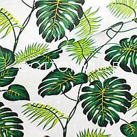 ✁ Відрізи тканини Пальмове листя на білому 50х105 см