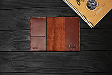 Обложка для паспорта ручной работы из кожи Краст VOILE pc1-kcog-lbrn, фото 3