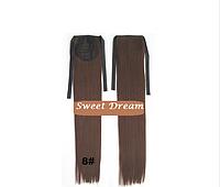 Хвост на ленте из искусственных волос, шиньон, наращивание волос, длина - 55 см, вес - 80 г, цвет - №8