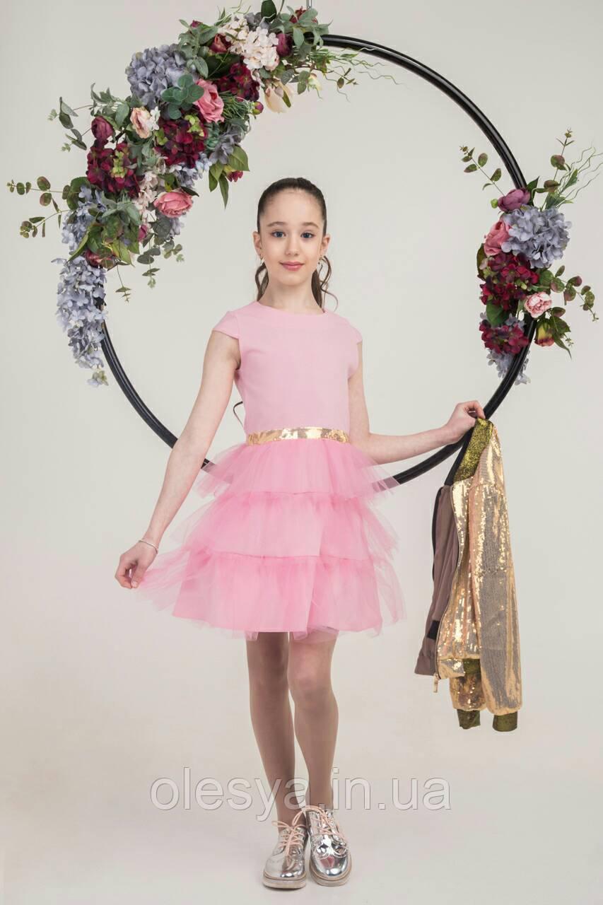 Нарядный комплект платье с бомбером для девочки подростка размер 134