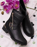 Ботинки с ремешком и змейкой 16115 -  модная обувь весна осень RE- Pandora