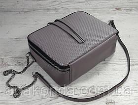 63-2 Натуральная кожа Сумка женская сиреневая кроссбоди кожаная сумочка на цепочке сиреневая сумка через плечо, фото 2