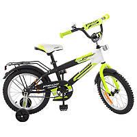Детский двухколесный велосипед PROFI 16 дюймов Inspirer,черно - бело -салатовый (мат), G1654