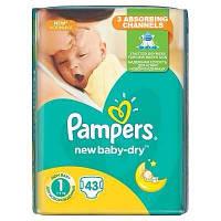 Подгузники Pampers New Baby-Dry Размер 1 (Для новорожденных) 2-5 кг, 43 шт.