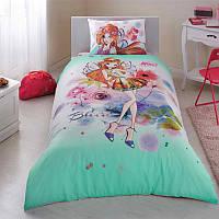 Постельное белье подростковое ранфорс Tac Disney Winx Bloom Water Colour