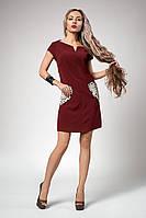 Молодежное женское платье с карманами, бордовое, фото 1