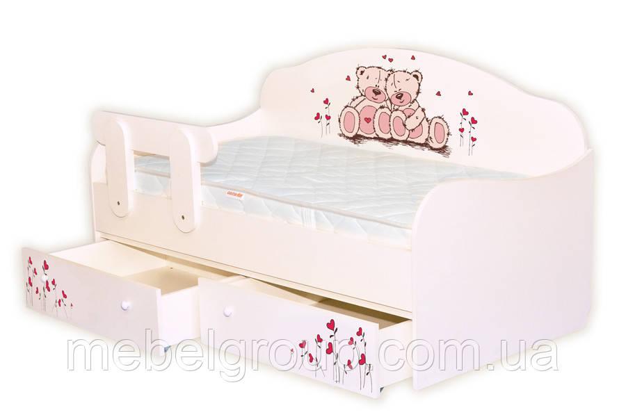 Ліжко диванчик Ведмедики рожеві з сердечками