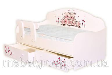 Кровать диванчик Мишки розовые с сердечками