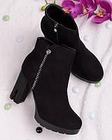 Женские замшевые ботинки на каблуке 18071 -  брендовая обувь осень весна RE- Crisma