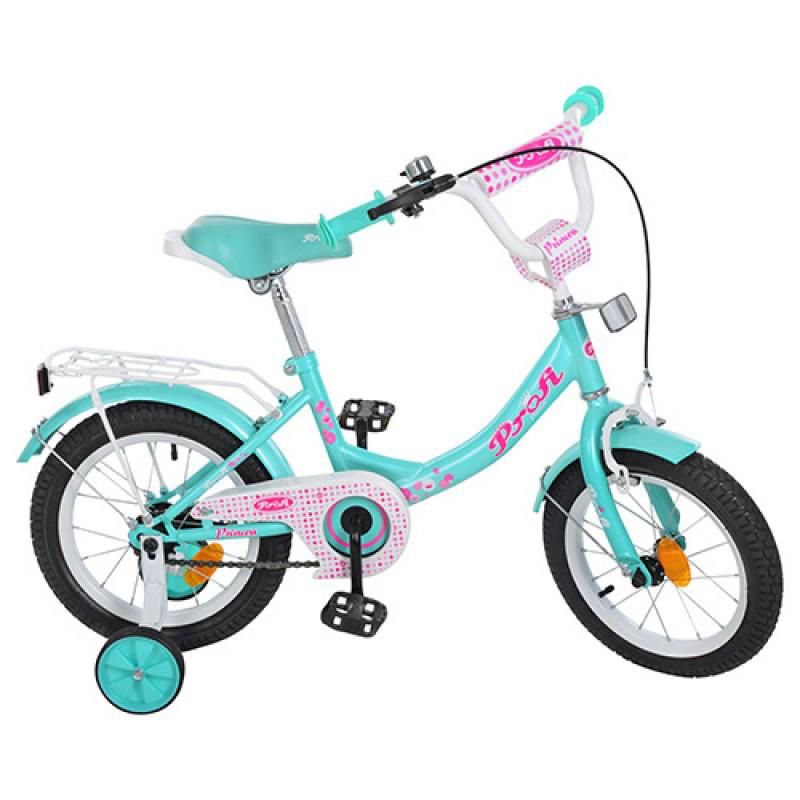 Детский двухколесный велосипед PROFI 16 дюймов для девочки мятный с розовым, Y1612 Princess