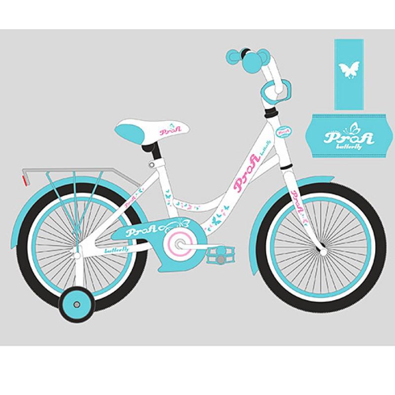 Детский двухколесный велосипед PROFI 16 дюймов для девочки Butterfly мятный с розовым, Y1624