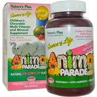 Жевательные мультивитамины для детей, Nature's Plus, арбуз, 180 конфет