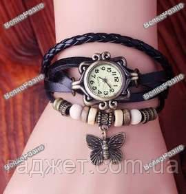 Женские наручные часы браслет с подвеской бабочка черного цвета, фото 2