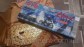 Мото цепь  530 DID 530ZVM-X 102 звеньев G&G золотая для мотоцикла  сальник X 2 -Ring