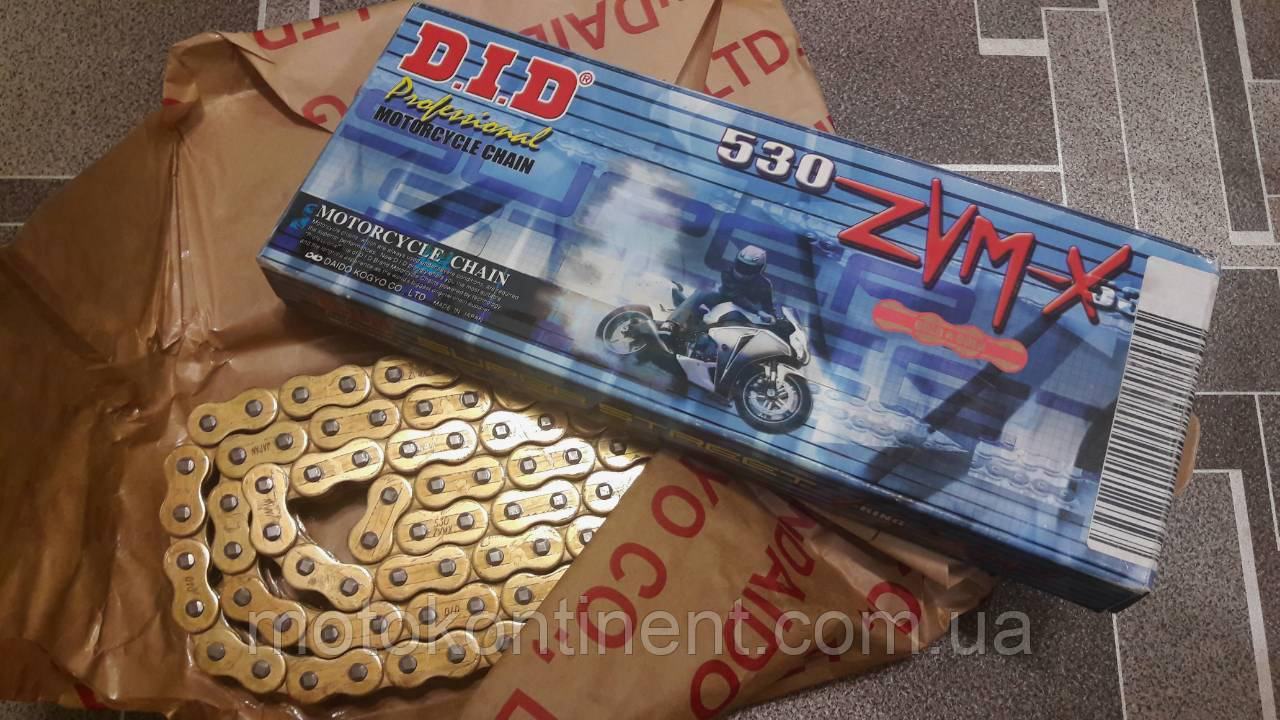 Мото цепь  530 DID 530ZVM-X 120 звеньев G&G золотая для мотоцикла  сальник X 2 -Ring