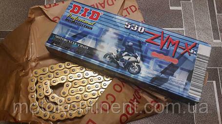 Мото цепь  530 DID 530ZVM-X 116 звеньев G&G золотая для мотоцикла  сальник X 2 -Ring, фото 2