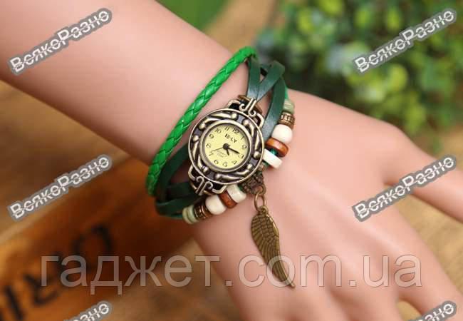 """Женские винтажные часы зеленого цвета с подвеской """"крыло"""". Женские часы."""