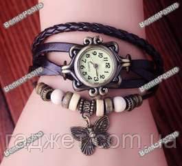 Женские винтажные часы с бабочкой темно коричневого цвета. Женские часы.
