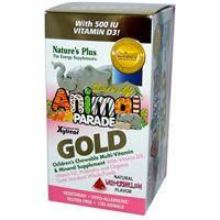 Мультивитамины для детей, в форме животных плюс Д3, Nature's Plus, арбуз, 120 таблеток